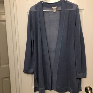 Chico's open knit open front blue cardigan